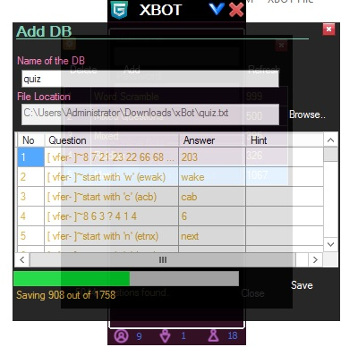How to add quiz database in xBot Xb6