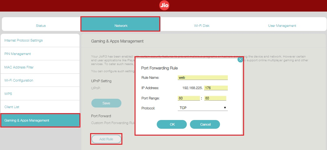 Port forwarding in JIOFI 3 Router Port